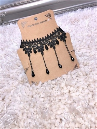 Black Lace Beaded Tassle Choker Necklace