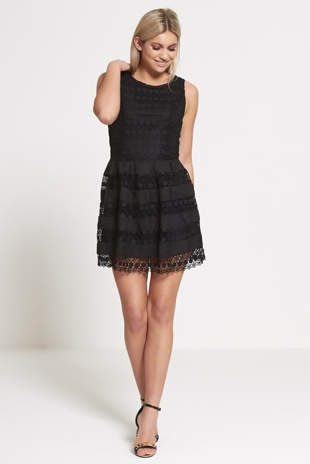 Black Lace Overlay Mini Skater Dress