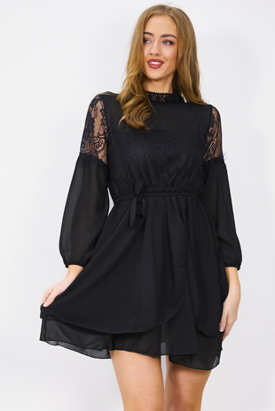 Black Lace Tie Waist Shift Dress