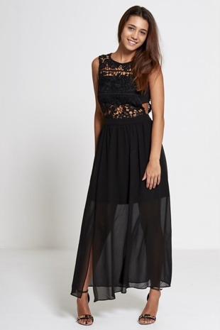 Black Lace Top Chiffon Maxi Dress