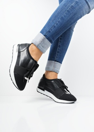 Black Lace Up Mesh Trainers