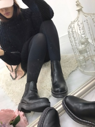 Black Leather Chelsea Boot With Diamante Detail