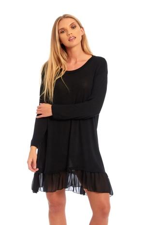 Black Long Sleeve Ruffle Swing Dress