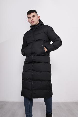 Mens Black Padded Longline Parka Coat