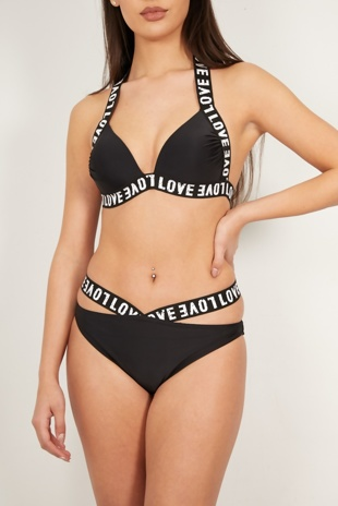 Black Love Strap Triangle Bikini Set