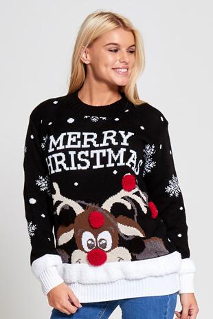 Black Merry Christmas Reindeer Jumper