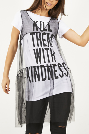 Black Mesh Layered Slogan T-shirt Dress