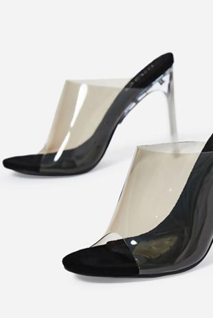 Black Peep Toe Perspex Heel Mule