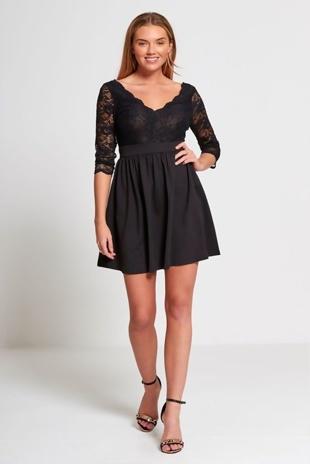 Black Plunge Neck Floral Lace Mini Dress