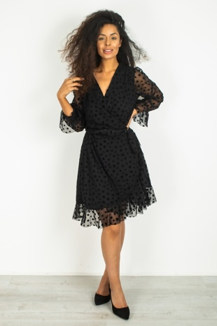 Black Polka Dot Mesh Wrap Dress