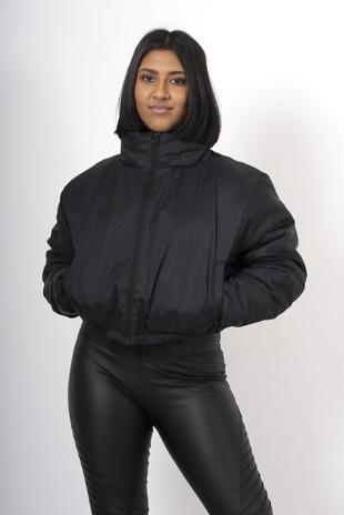 Black cropped funnel neck jacket