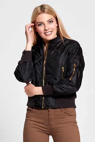 Black Quilted Bubble Bomber Jacket