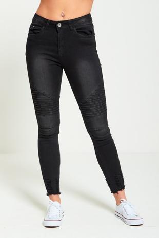Black Ribbed Skinny Biker Jeans