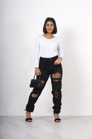 Black ripped high waisted mom jeans