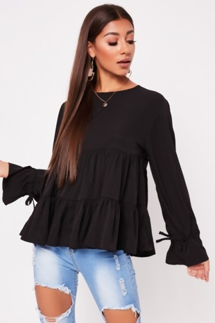 Black Ruched Bow Long Sleeve Tiered Shift Top