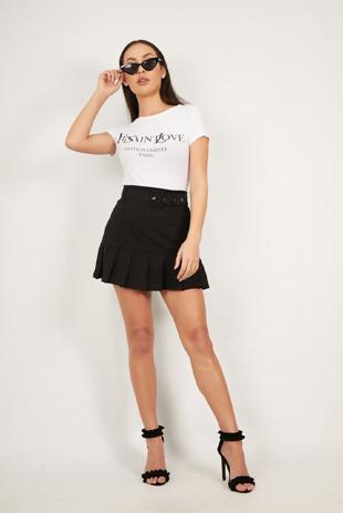 Black Ruffle Belted Mini Skirt