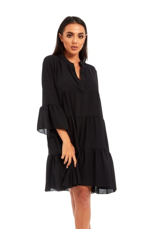 Black Ruffle Swing Beach Mini Dress
