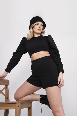 Black Puff Sleeve Cropped Jumper And Short Set