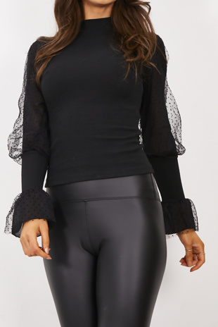 Black Sheer Flounce Sleeve Ribbed Jumper