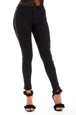 Black Side Stripe Stud Detail Skinny Jeans