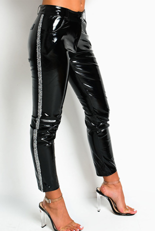 Black Silver Sequin Stripe Vinyl Pants