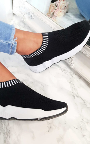 Black Skylar Runner Sock Trainer