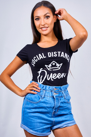 Black Social Distance Slogan T-Shirt