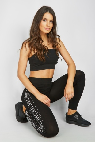 Black Sports Activewear Leggings With Contrast Detail