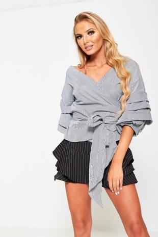 Black Striped High Waist Ruffle Shorts