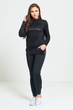 Black Striped Loungewear Sweatshirt Jogger Set