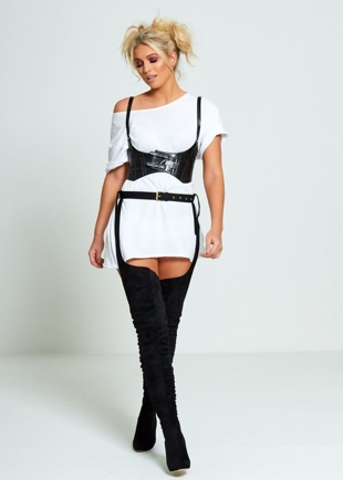 Black Suede Belt Thigh High Boots