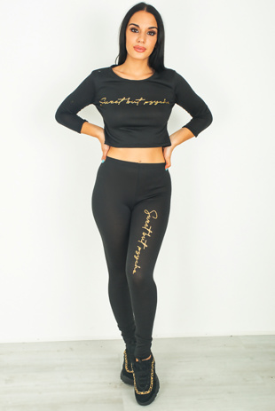 Black Sweet But Psycho Slogan Crop Top Lounge Set