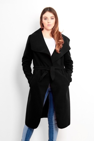 Black Tie Front Shawl Collar Coat