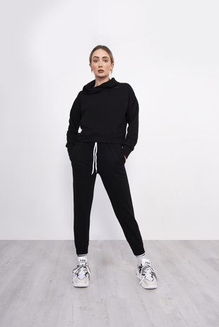 Black Cropped Hoodie And Jogger Lounge Set