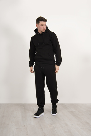 Mens Black Pullover Hooded Tracksuit