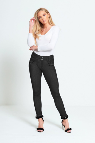 Black Two Button Skinny Jegging Jeans