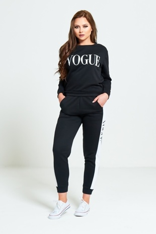Black Vogue Print Tracksuit Set