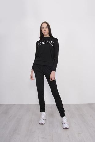 Black Marl Vogue Slogan Loungewear Set