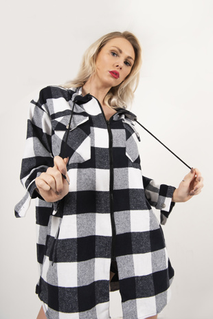 Black And White Plaid Hooded Oversized Shirt