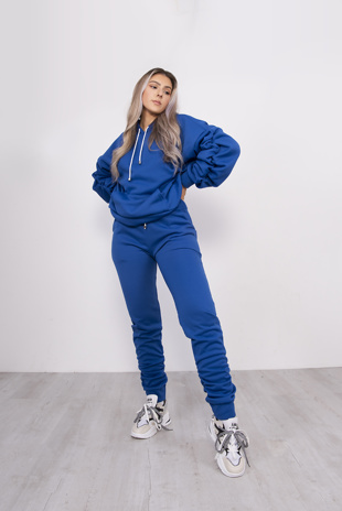 Royal Oversized Ruched Hoodie And Jogger Set