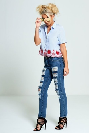 Blue And White Cropped Shirt With Floral Embroidery