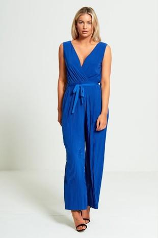 Blue Culotte Pleated Jumpsuit