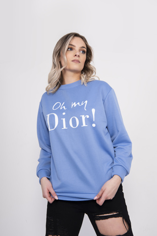 Blue Oh My Slogan Sweatshirt
