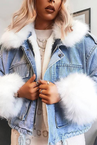 Blue Faux Fur Trim Denim Jacket