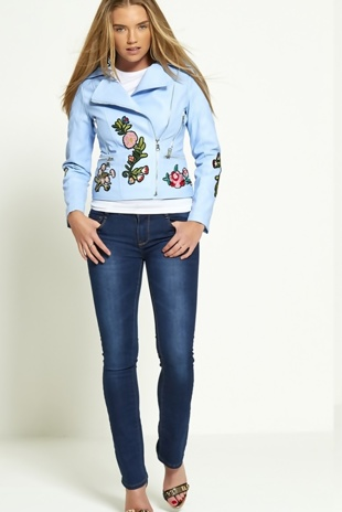 Blue Floral And Butterfly Embroidered Biker Jacket