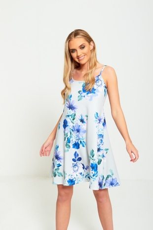 Blue Floral Cami Skater Dress