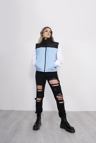 Blue Colourblock Puffer Gilet