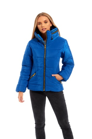 Blue High Neck Padded Puffer Jacket