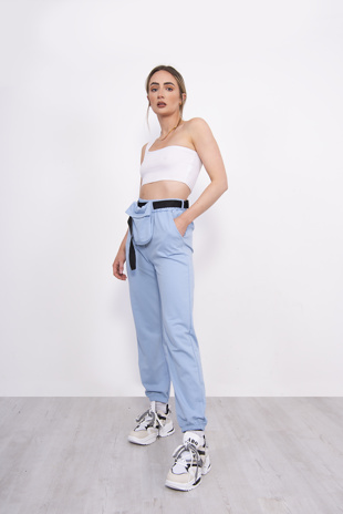 Light Blue Belt Bag Detail Joggers