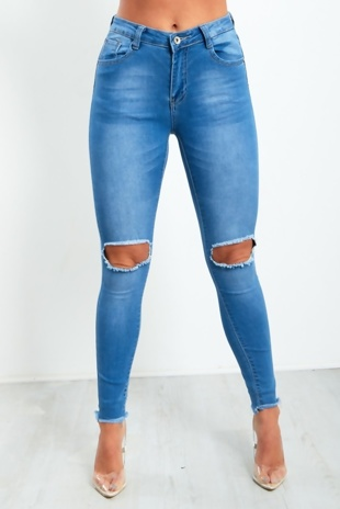 Blue Knee Cut Frayed Hem Skinny Jeans